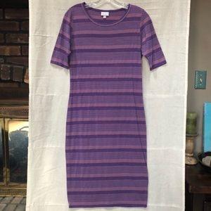 LuLaRoe Julia Knit Midi Dress Purple Stripe Medium